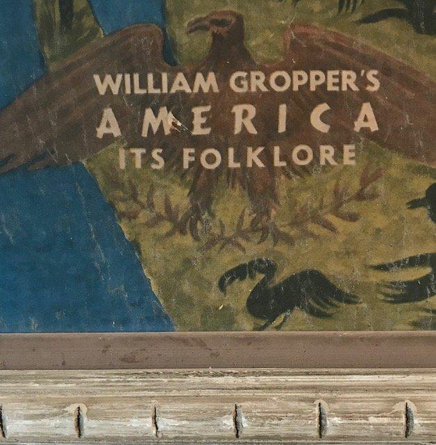 Antique William Gropper's America Folklore Map 1940s - 3