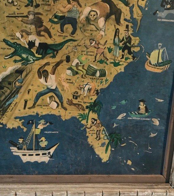 Antique William Gropper's America Folklore Map 1940s - 6