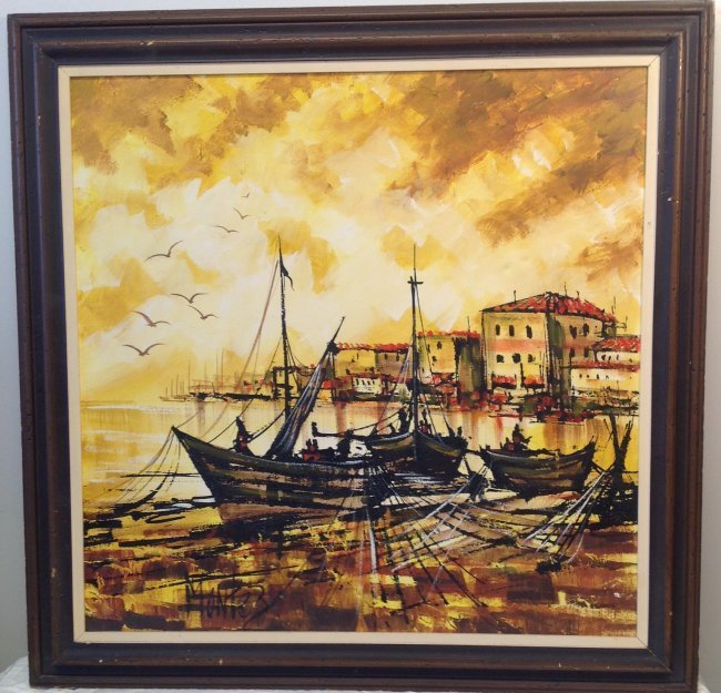 Signed MONTEZ Painting = Fishing Boats in the Village. - 2