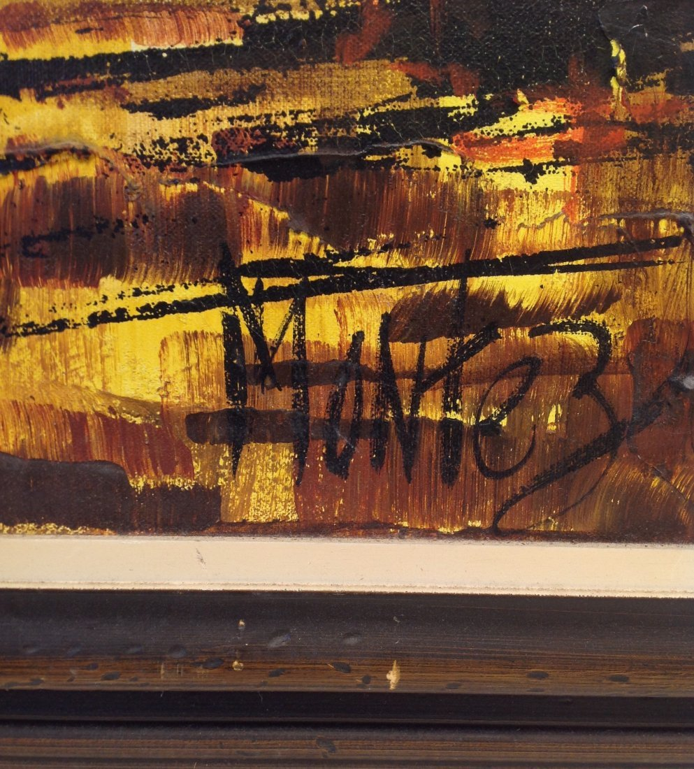 Signed MONTEZ Painting = Fishing Boats in the Village. - 3