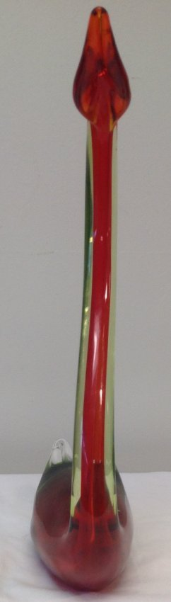 Murano Style Swan glass figurine 17 H - 2
