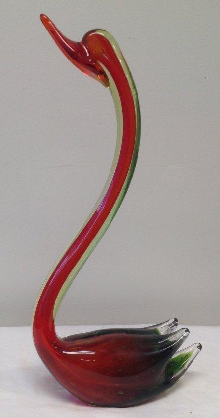 Murano Style Swan glass figurine 17 H - 3