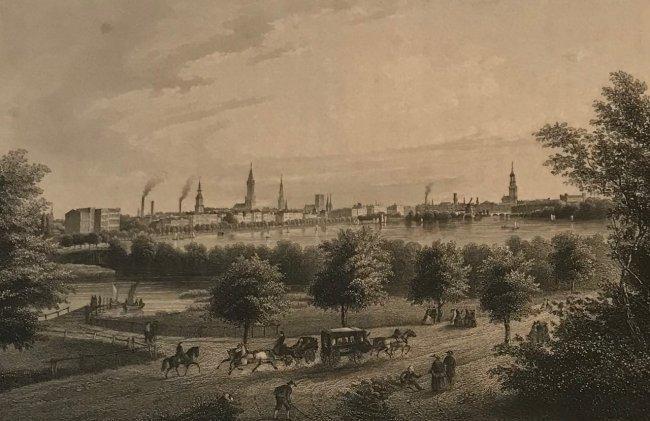 Stahlstich 1860's Hamburg Engraving print