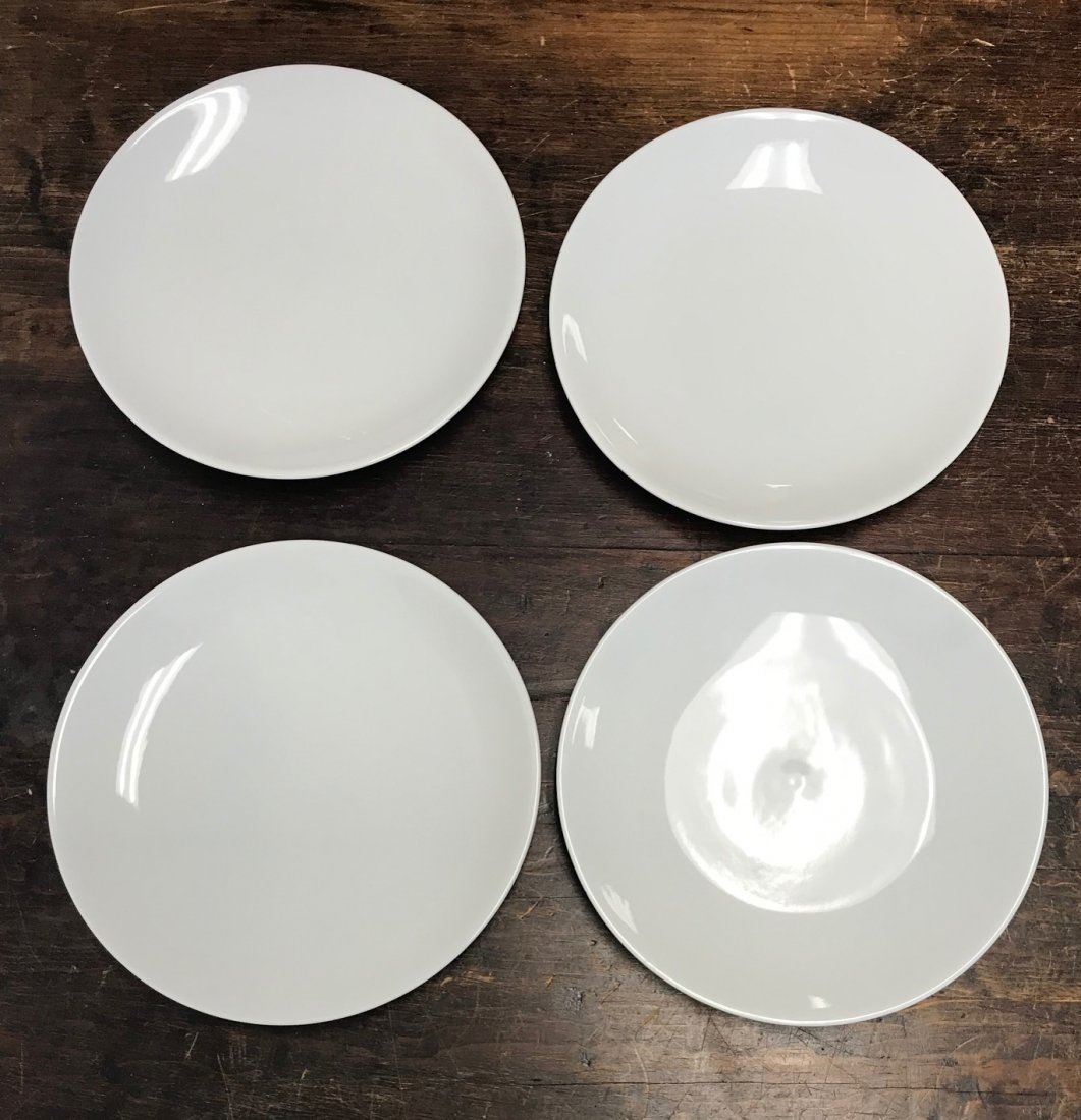4 White Hutschenreuther Lion embossed dinner plates