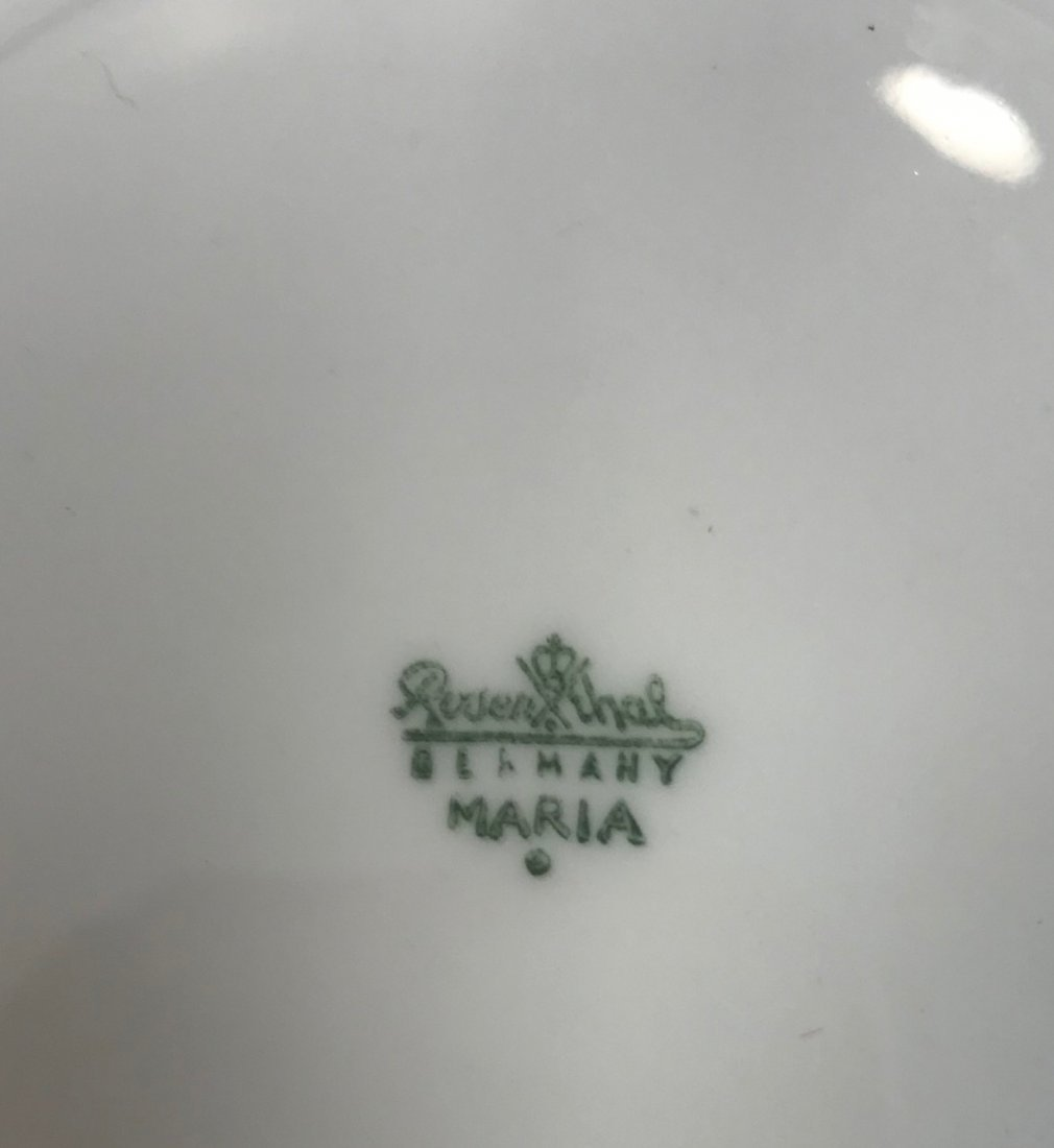 """4 Rosenthal """"Maria"""" white decorated salad plates - 3"""