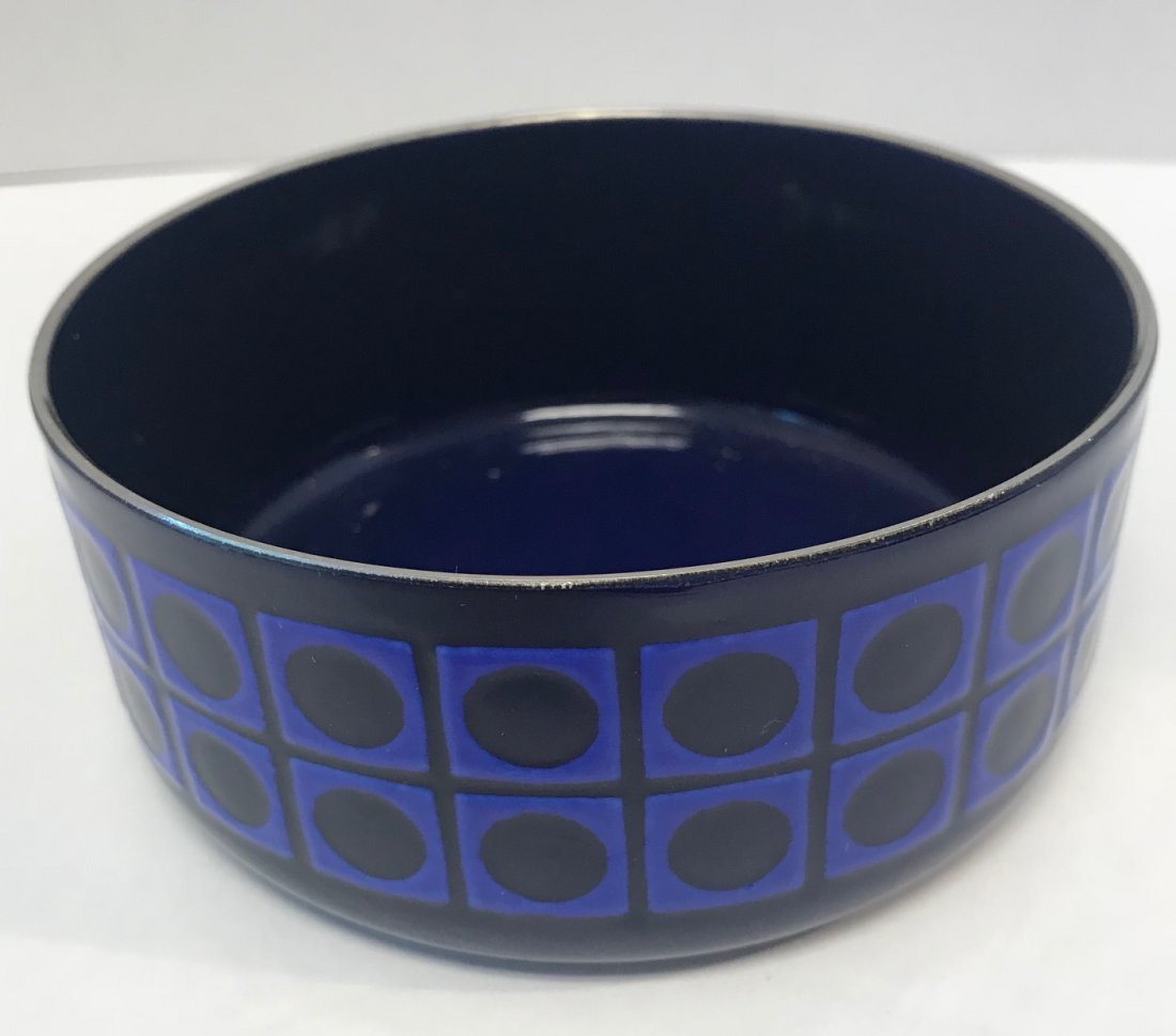 Vintage: royal blue pattern candy dish.