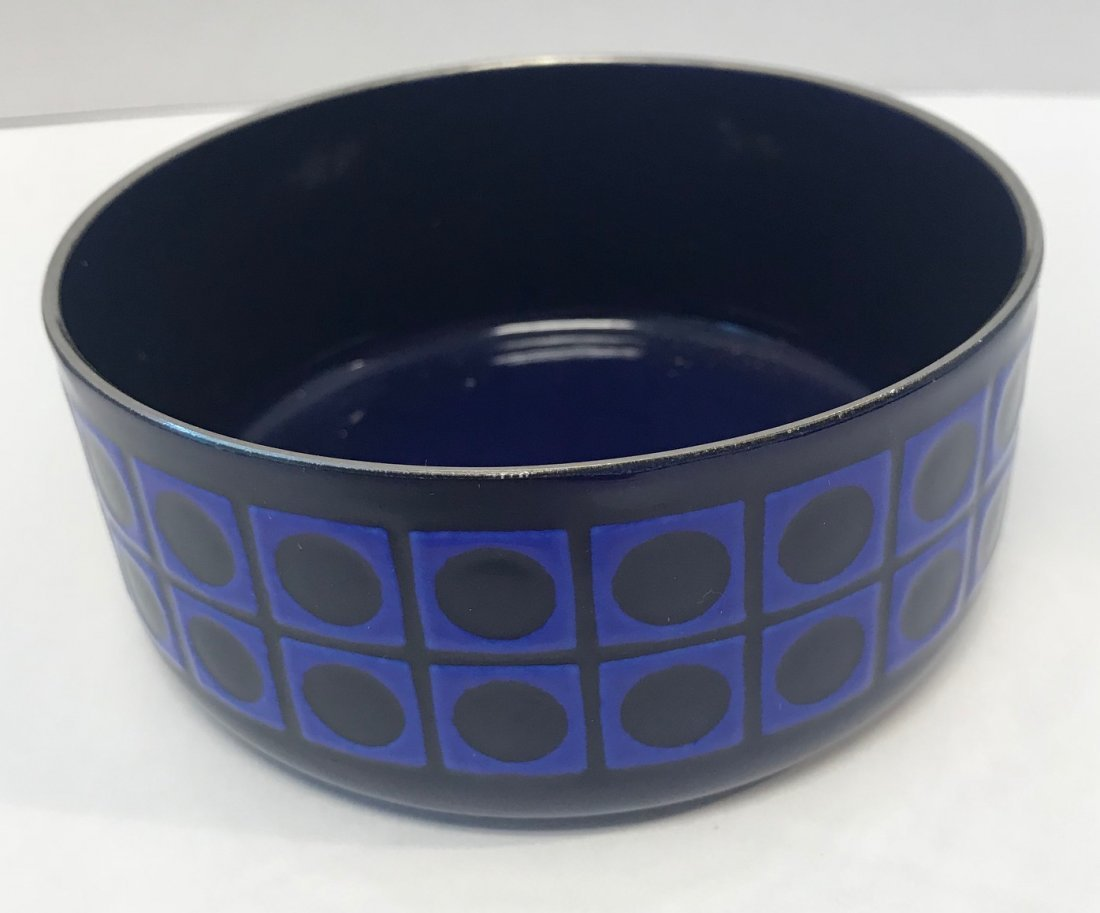 Vintage: royal blue pattern candy dish. - 3
