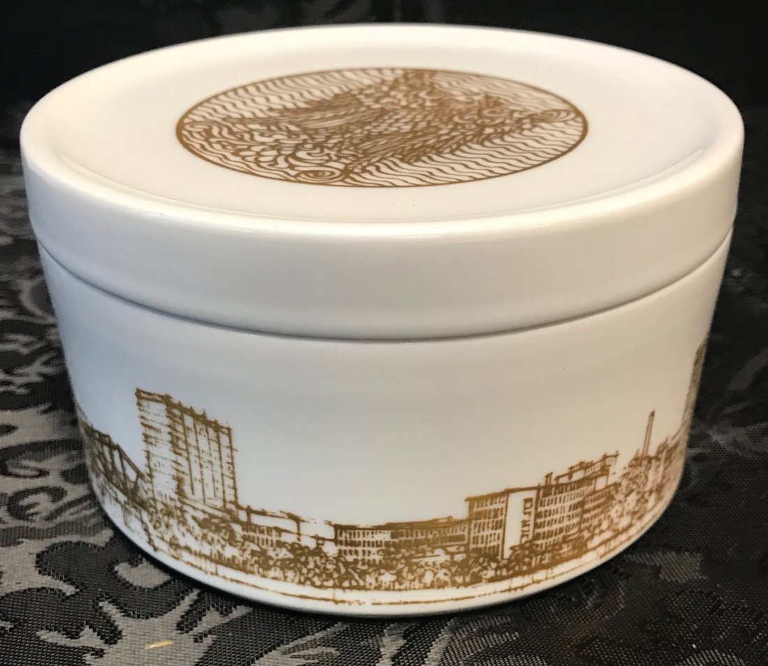 Hutschenreuther Degussa 1873-1973 White Gilt Dish