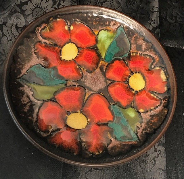 Keramik Weber stamp Multicolor wall floral Plate #2