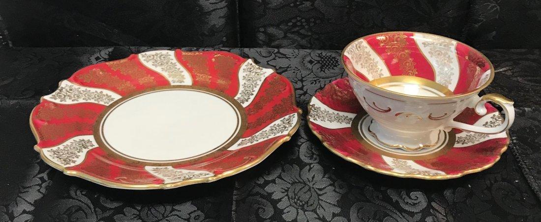 Schumann Bavaria red flora cup, saucer & plate