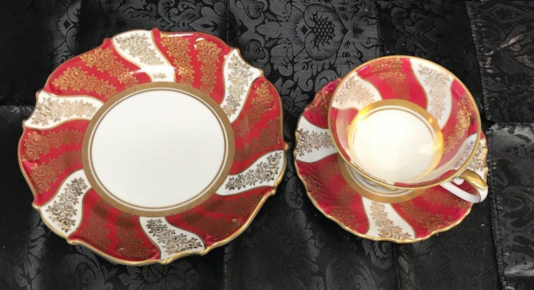 Schumann Bavaria red flora cup, saucer & plate - 2