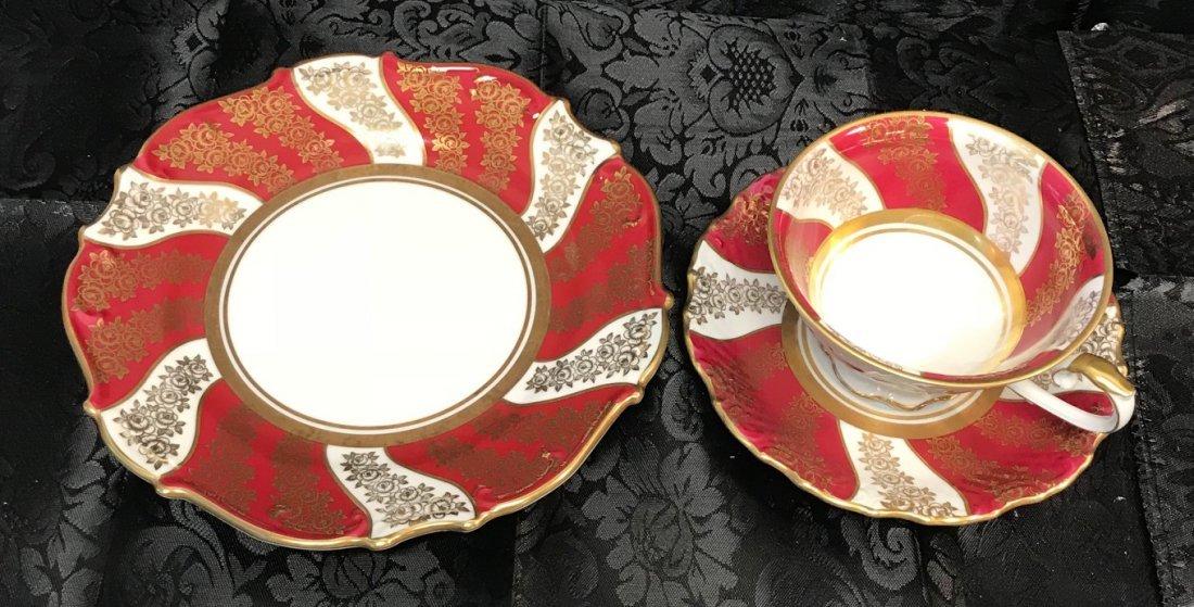Schumann Bavaria red flora cup, saucer & plate - 3