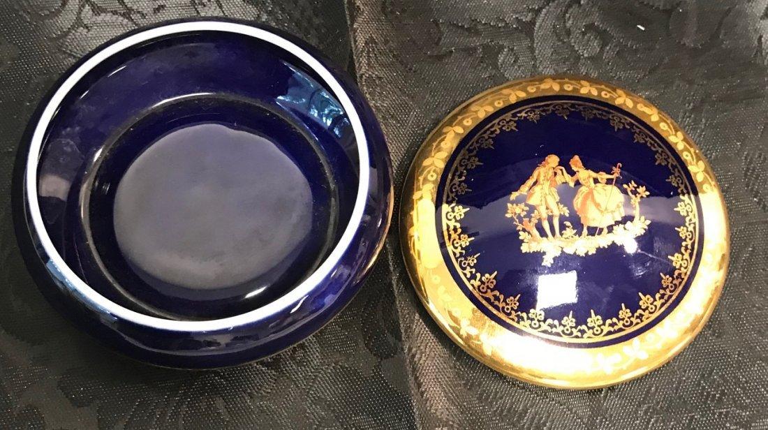 France Limoges cobalt blue trinket box men Woman - 4