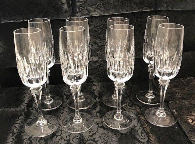 8 German Spiegelau lead crystal Champagne flute glasses