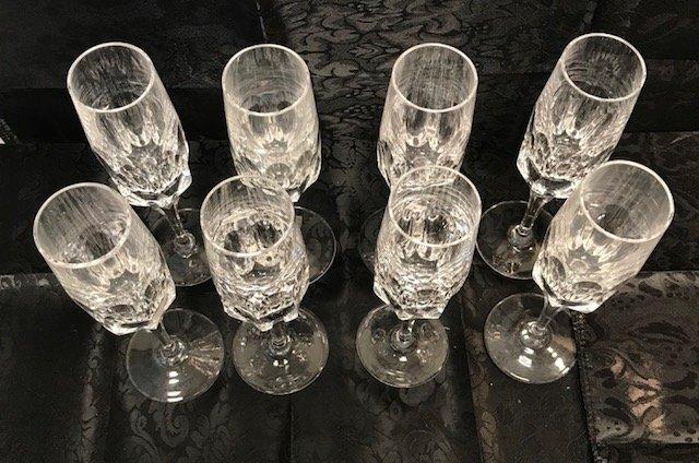 8 German Spiegelau lead crystal Champagne flute glasses - 4