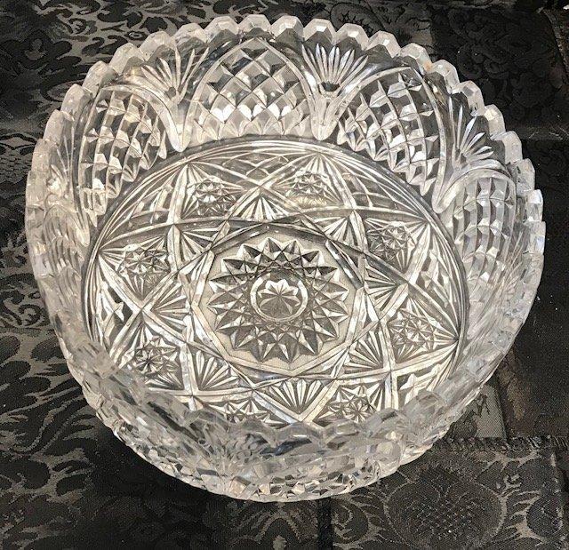 American Brillant Style large German crystal Bowl - 2