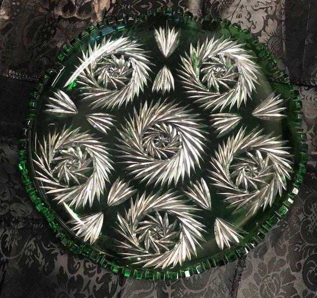 Vintage lead crystal round German emerald green Dish