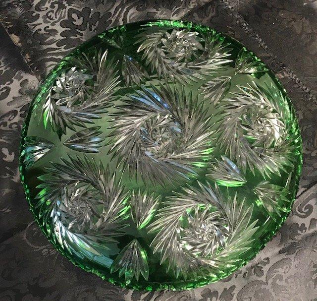 Vintage lead crystal round German emerald green Dish - 3