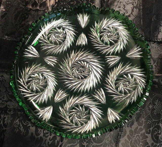 Vintage lead crystal round German emerald green Dish - 4