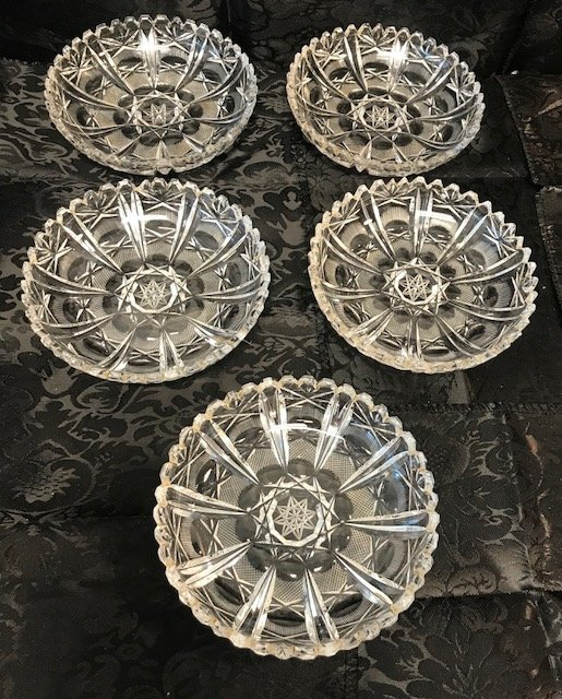 5 German lead crystal round dishes