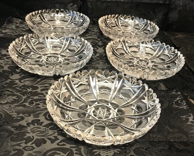 5 German lead crystal round dishes - 2