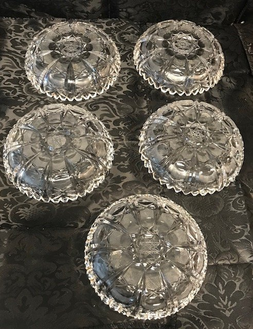 5 German lead crystal round dishes - 3