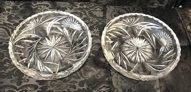 2 German Round lead crystal candy Dish