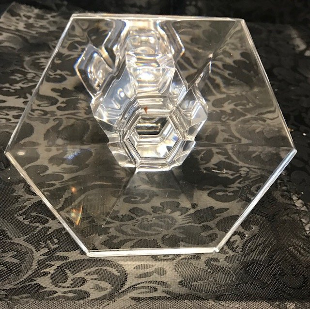 Val St Lambert crystal hexagonal candle stick - 4