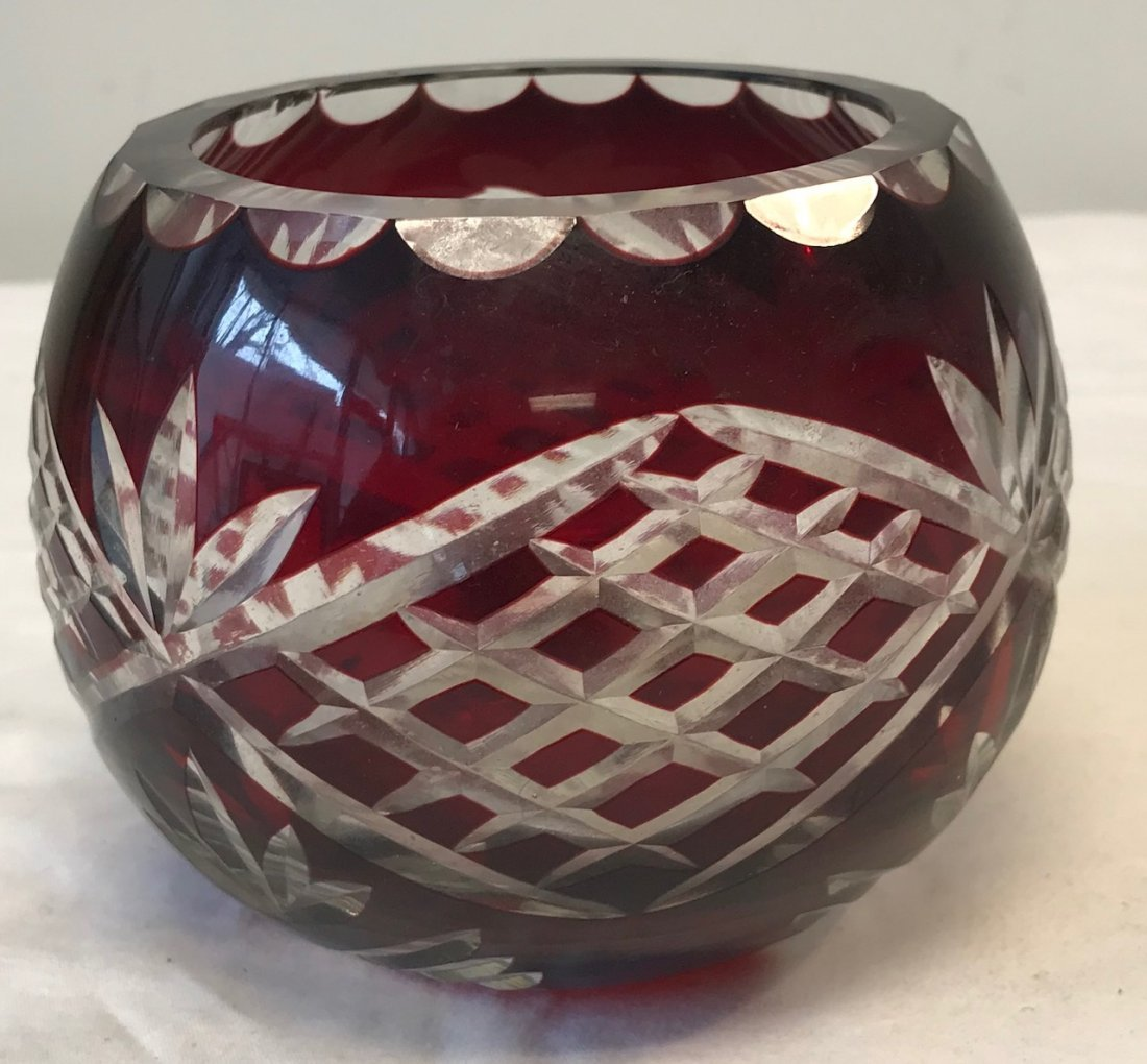 Romanian GODINGER Cranberry Cut Crystal Bowl