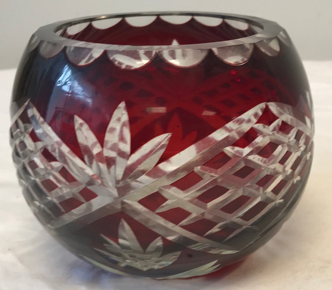 Romanian GODINGER Cranberry Cut Crystal Bowl - 2