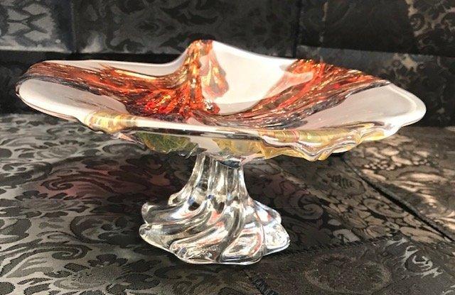 BAVARIAN GERMANY  CRANBERRY crystal Cake Tray