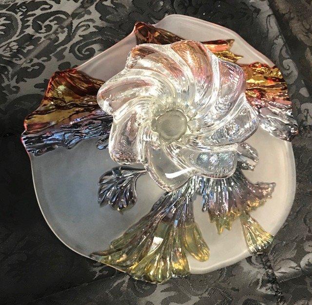 BAVARIAN GERMANY  CRANBERRY crystal Cake Tray - 3