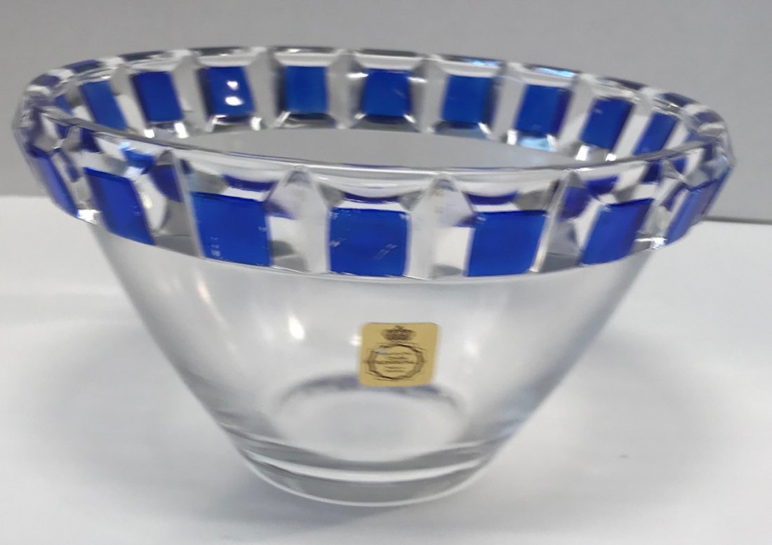 German Nachtmann Breikristall blue & white bowl