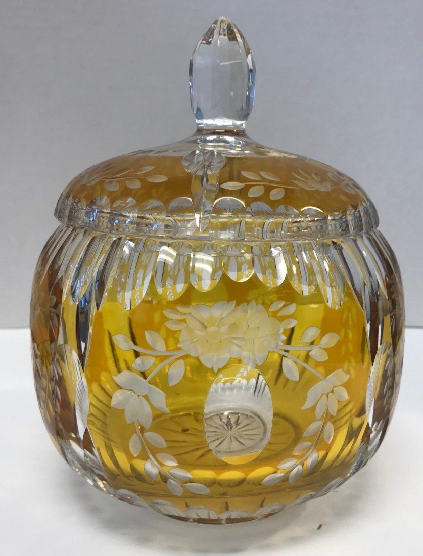BAVARIAN GERMAN Yellow & White Lead crystal dish