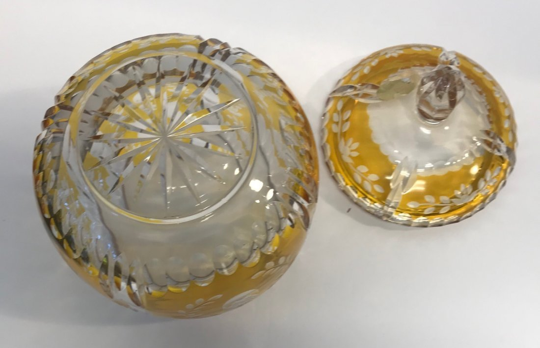 BAVARIAN GERMAN Yellow & White Lead crystal dish - 4