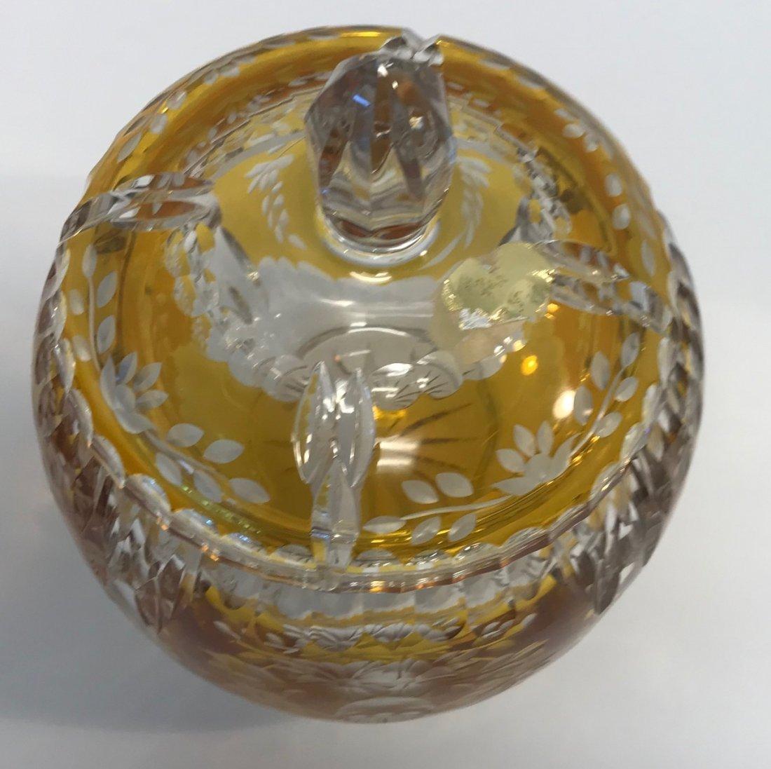 BAVARIAN GERMAN Yellow & White Lead crystal dish - 5