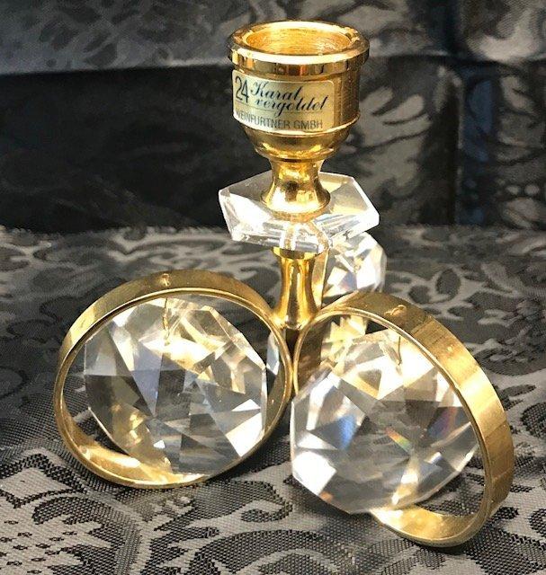 German Weinfurtner Gilt crystal candle Holder - 2