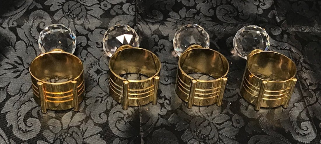 Gold plated 4 standing napkins holders with crystal - 2