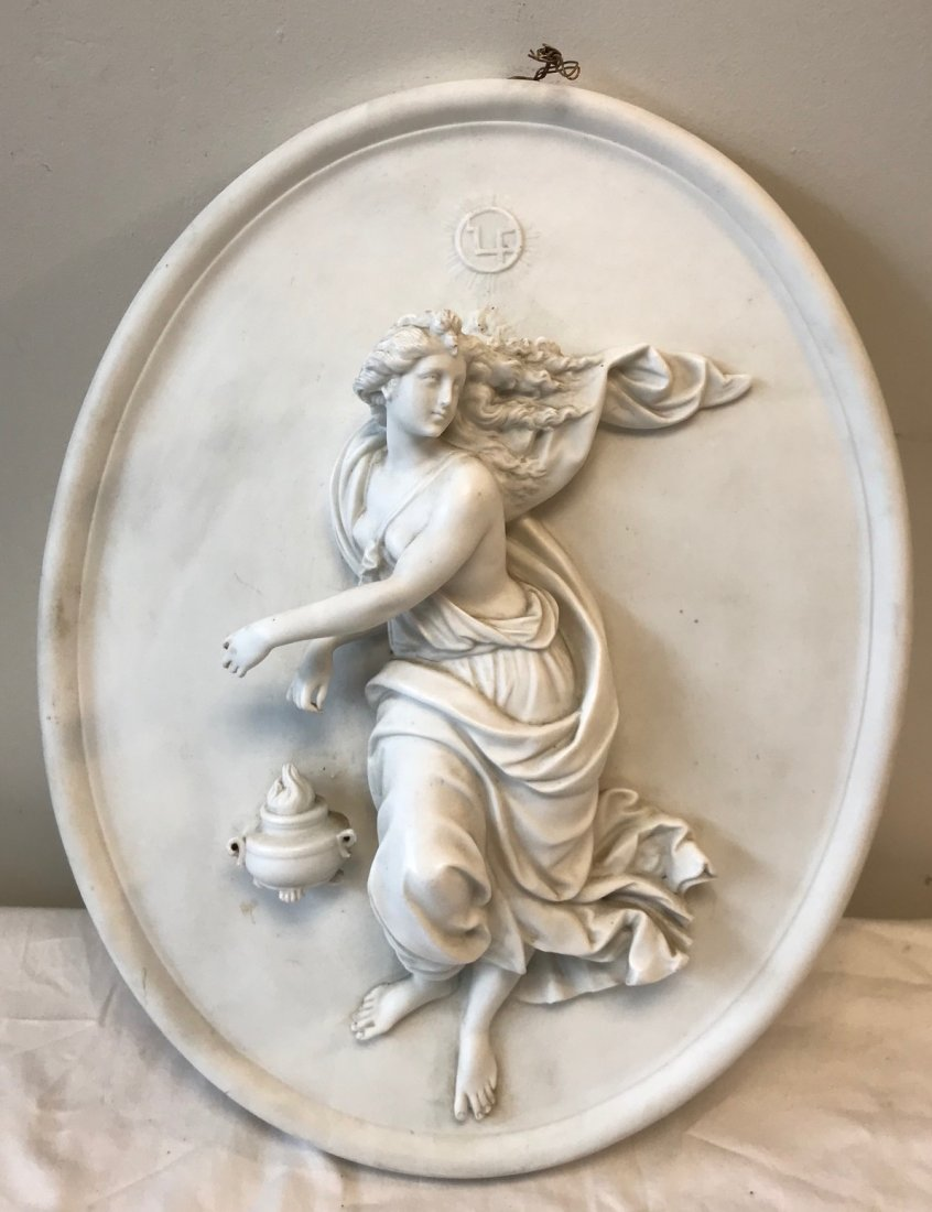 Dresden Oval plaque Lady Figurine - 3