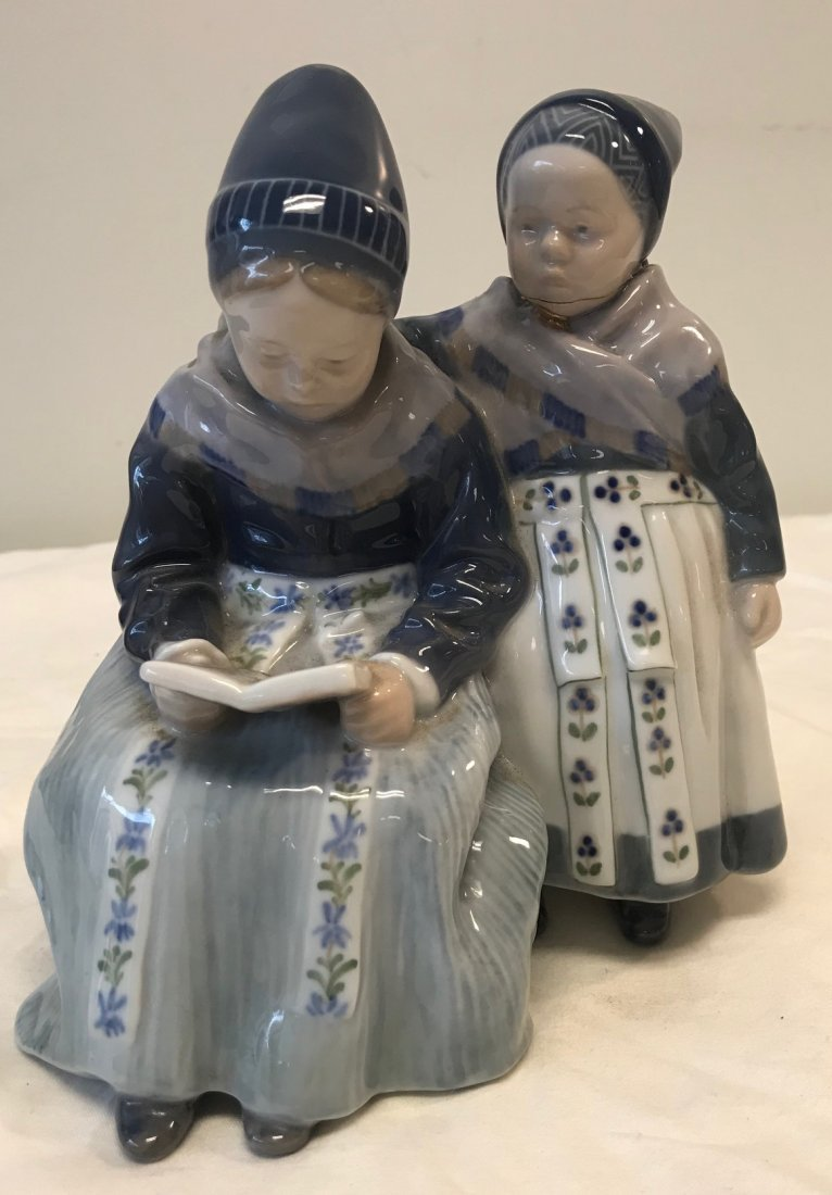 Royal Copenhagen 1395; Two Amager Girl Reading Figurine