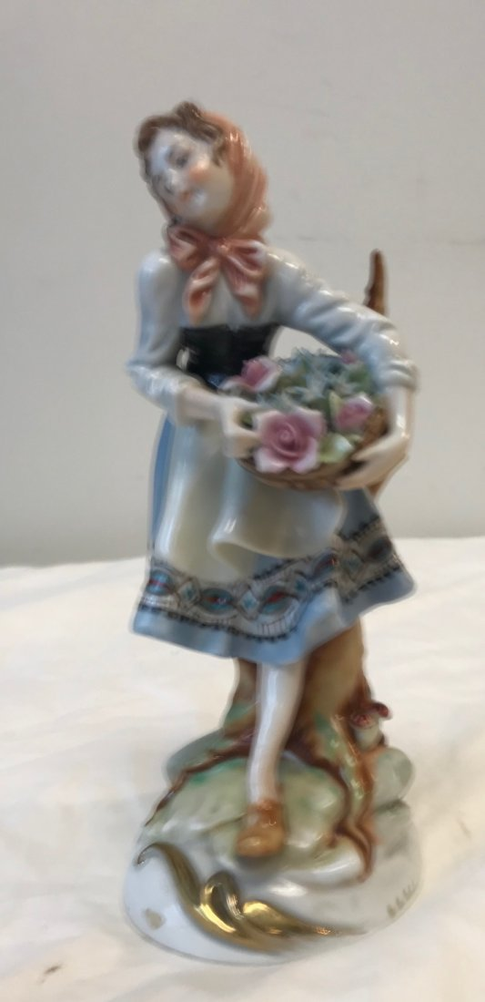 DRESDEN STYLE Porcelain girl floral figurine 6054