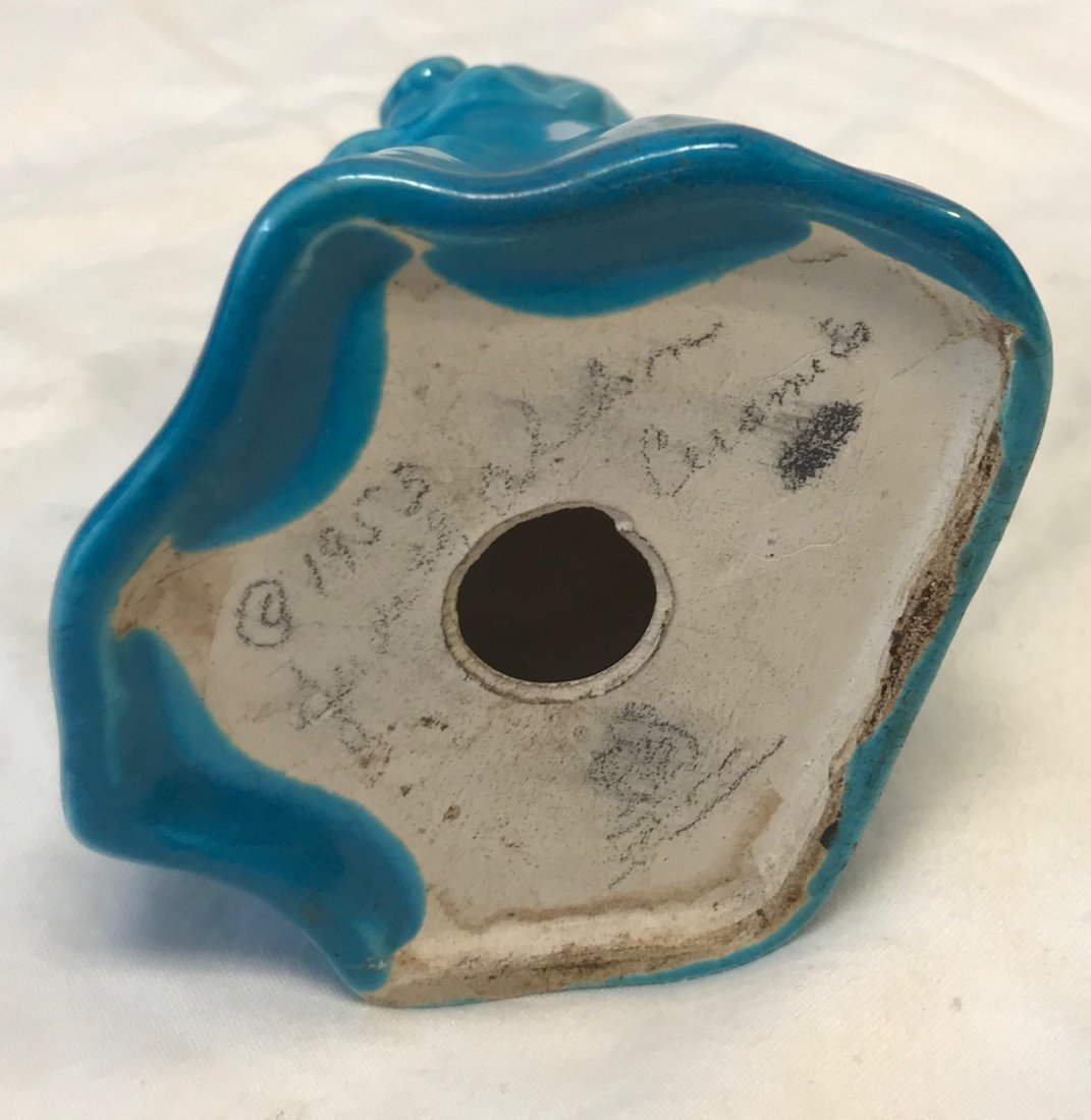 SIGNED Faceless Blue Floral Figurine - 3