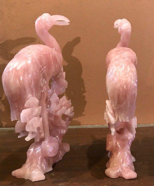 Vintage 2 Pink swan Quartz Statues 12 x 6 - 3