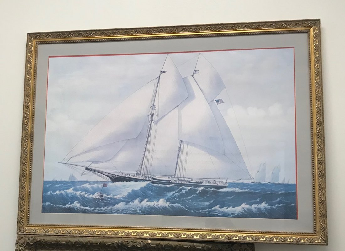 NAUTICAL SAIL BOAT LITHOGRAPH PRINT - 2