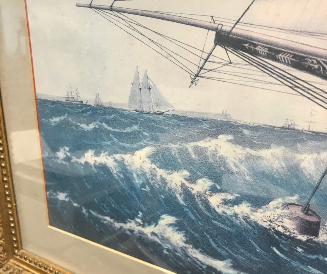 NAUTICAL SAIL BOAT LITHOGRAPH PRINT - 5
