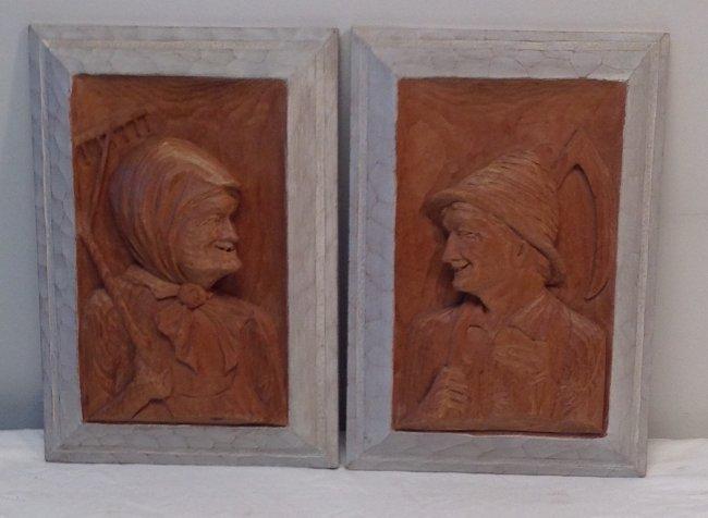 H. Nadeau Canadian Folk Artist - Farmer/ Wife Plaques