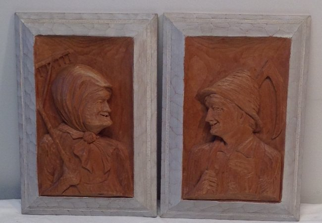 H. Nadeau Canadian Folk Artist - Farmer/ Wife Plaques - 2