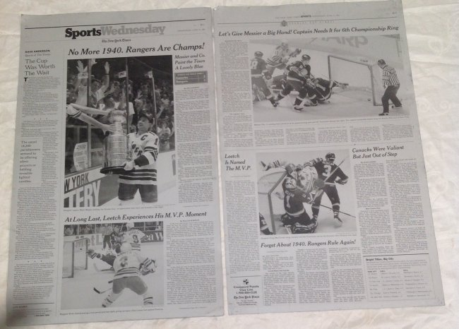 NY Time Metal Sheet Plates/NY Rangers Stanley Cup