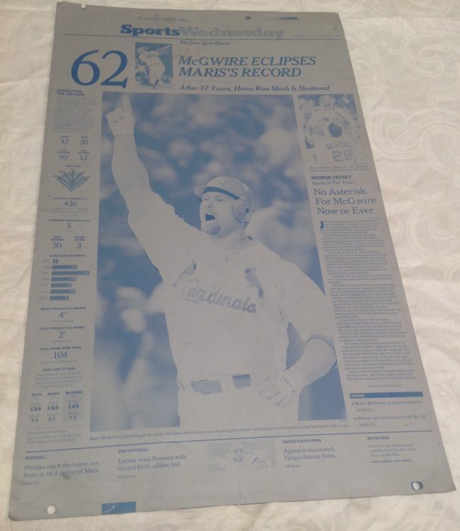NY Times Metal Sheet Plate. McGwire Eclipses Maris