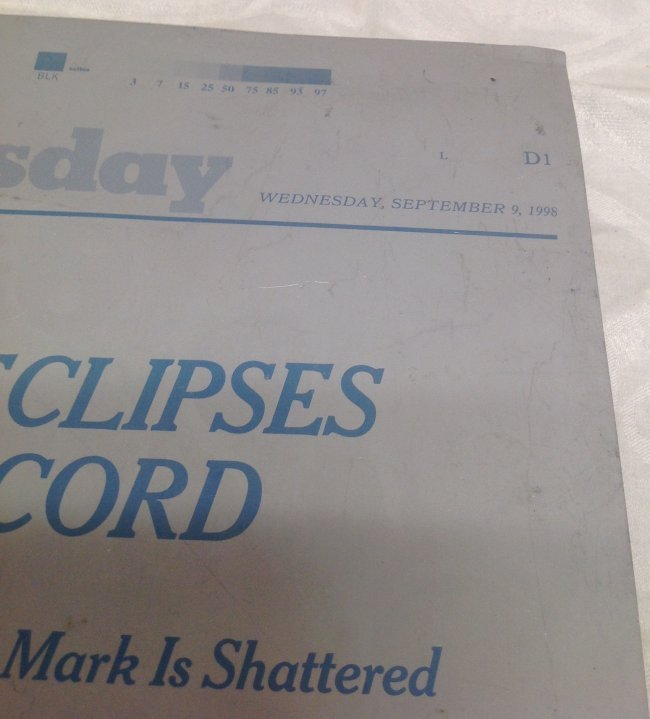 NY Times Metal Sheet Plate. McGwire Eclipses Maris - 2